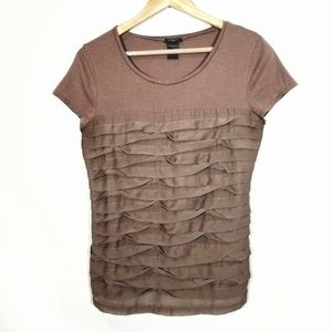 ANN TAYLOR Layered Tan Brown Shirt Top Women's M